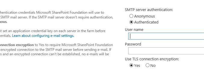 SharePoint 2019 - SMTP Authentication -   :: I like