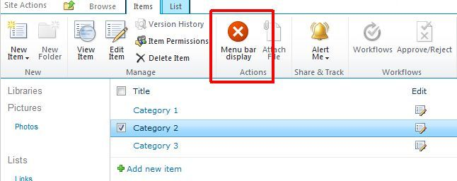 how to create action item use sharepoint