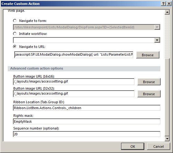 SharePoint 2010 Custom Actions with SP Modal dialog & page
