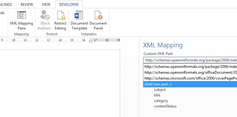 office_xml_mapping_pane